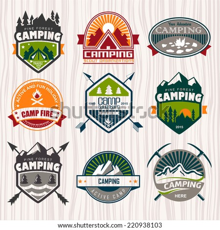 Set of camping logo, labels and badges. Travel emblems - stock vector