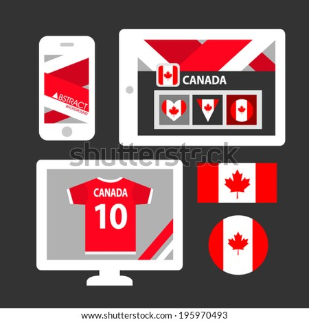 Set of Canada flag  - stock vector