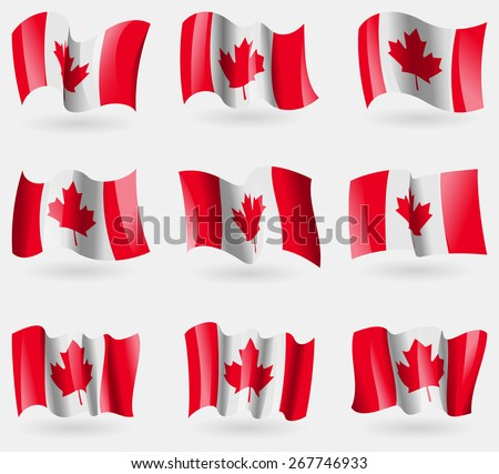 Set of Canada flags in the air. Vector illustration - stock vector