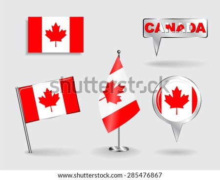 Set of Canadian pin, icon and map pointer flags. Vector illustration. - stock vector
