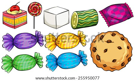 Set of candies on a white background - stock vector