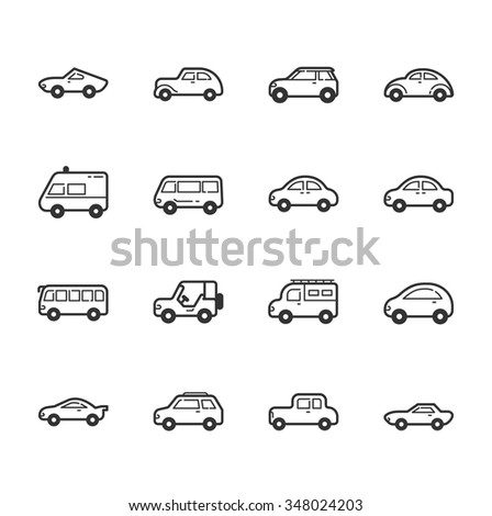 Set of car icons , eps10 vector format - stock vector