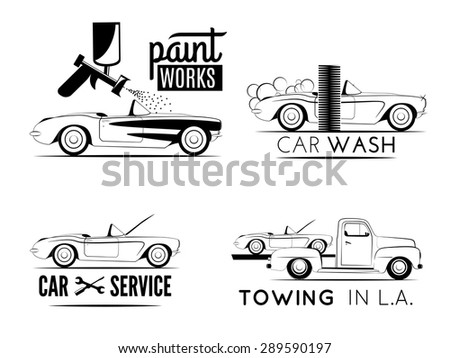 Set of car service labels. Car repair service, car wash, car paint and car towing emblems and icons - stock vector