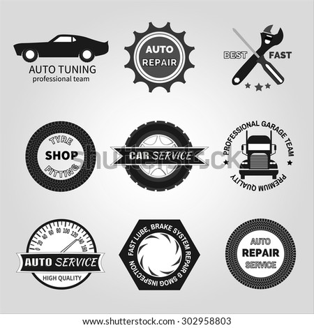 Set of car service labels, emblems and design elements - stock vector
