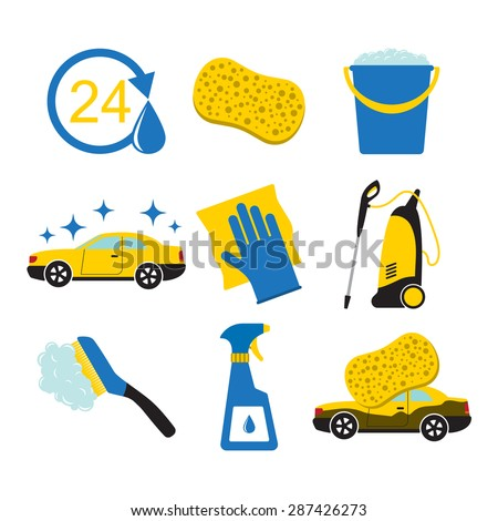 Set of car wash tools together with the icon of the car. - stock vector