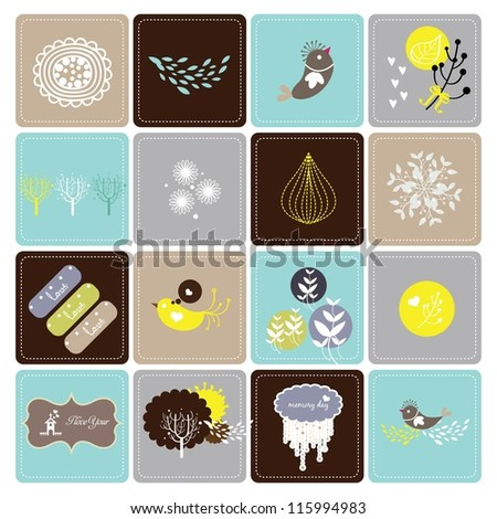 set of card collection - stock vector