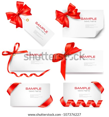 Set of card note with red gift bows with ribbons Vector - stock vector