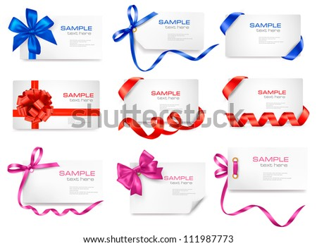 Set of card notes with color gift bows with ribbons Vector - stock vector