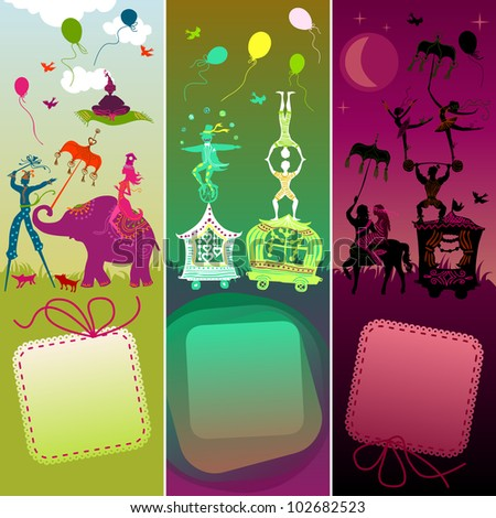 set of 3 card showing colorful circus caravan with magician, elephant, dancer, acrobat, mermaid and other fun characters - stock vector