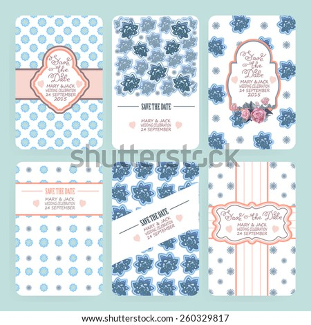 Set of card templates can be used for Save The Date, baby shower, Mothers Day, Valentines Day, birthday cards, invitations - vector illustration. - stock vector