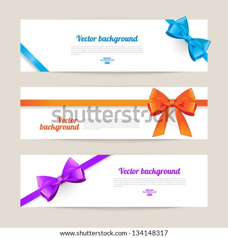 Set of card with gift bows - stock vector