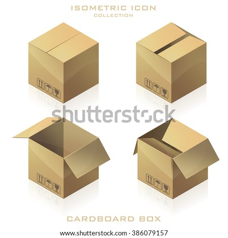 Set of cardboard boxes to send isometric. Vector Illustration - stock vector