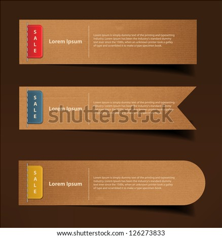 Set of cardboard, stickers, labels, tags. Vector template - stock vector