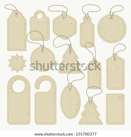 Set of cardboard tags of different shapes, vector. Each object can be used separately - stock vector