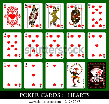 Set of Cards.All the Hearts. - stock vector