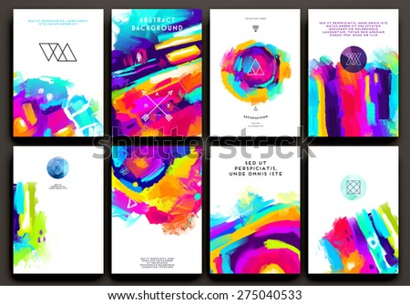 Set of Cards for Marriage, Wedding, Bridal, Valentine's day or Birthday Invitations. Trendy Geometric and Thin Line Hipster Logotypes for Business Cards, Flyers, Banners, Placards and Posters Design. - stock vector