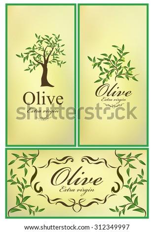 set of cards olive emblem - stock vector