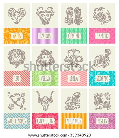 Set of cards or banners. Zodiac icons. Freehand drawing. - stock vector