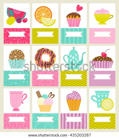 Set of cards or invitations. Illustrations with desserts, tea and fruit - stock vector