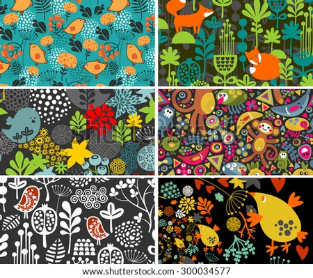 Set of cards with birds, animals and flowers. Vector illustration. - stock vector