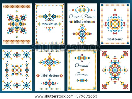 Set of cards with bright tribal geometric ornament. Vector background. Oriental motifs. Modern design elements with text template. - stock vector