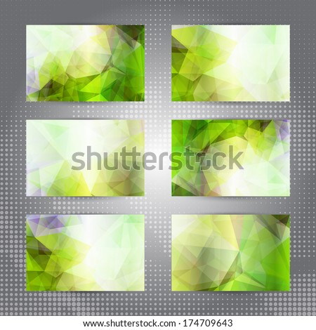 Set of cards with shining green abstract geometric polygonal pattern - stock vector