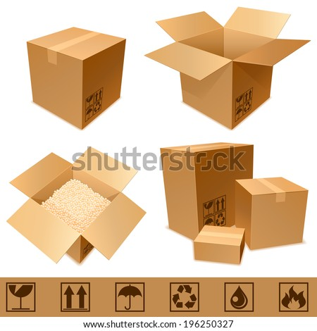Set of cargo cardboard boxes and signs. - stock vector