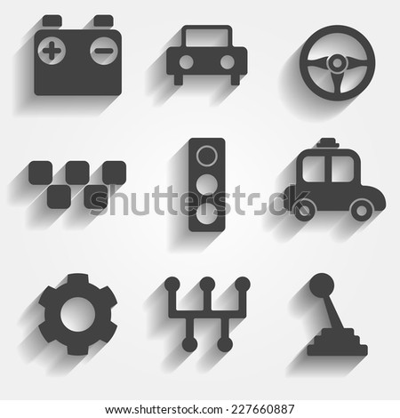 Set of 9 cars vector web and mobile icons in flat design. Symbols of gear, gearbox, traffic light, steering wheel, cars, battery, stick shift. - stock vector