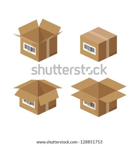 Set of carton paper box - illustration - stock vector