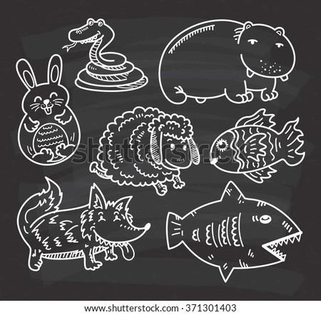 set of cartoon animal on chalkboard background - stock vector