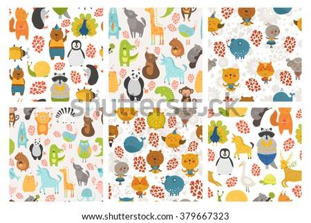 Set of cartoon animals backgrounds. Vector cute animal patterns. Sheep, zebra, cat, dog , merinos, bird, unicorn, crocodile, bear, panda, koala, lion, peacock, tortoise - stock vector