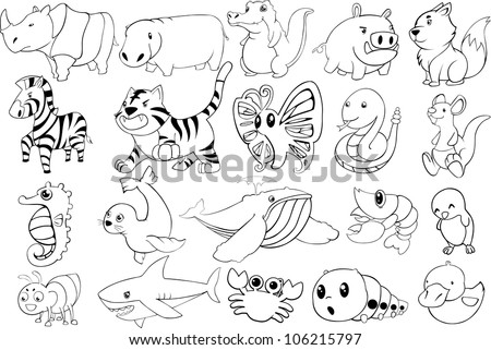 set of cartoon animals vector - stock vector