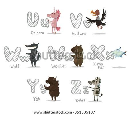 set of cartoon animals with letters. Animal funny alphabet. Unicorn. Vulture. Wolf. Wombat. X-ray fish. Yak. Zebra. vector illustrations - stock vector