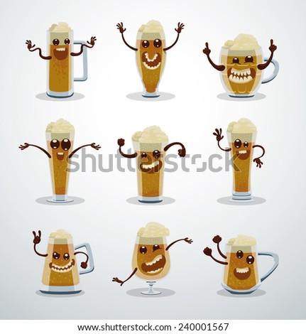 Set of Cartoon Beer, vector - stock vector