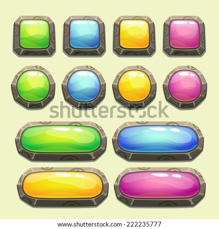 Set of cartoon buttons for game or web design - stock vector