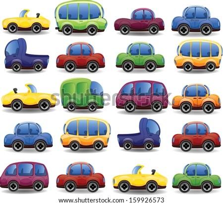 Set of cartoon cars - vector  - stock vector