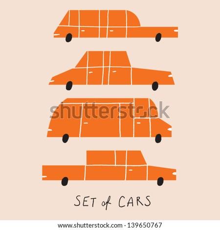 set of cartoon cars vector illustration - stock vector