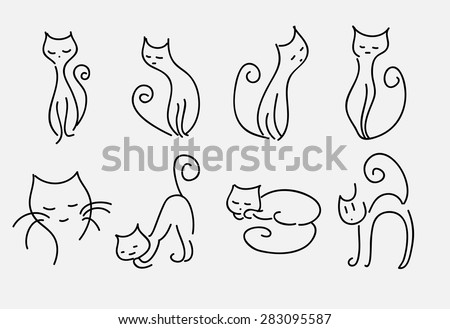 set of cartoon cats vector curved lines. - stock vector