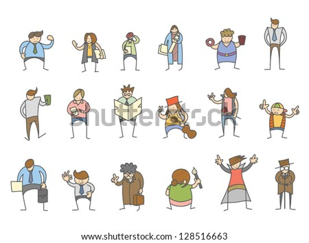 set of cartoon character various poses - stock vector