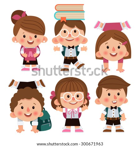 Set of cartoon characters, girls and boys. School children. Back to school. Cute schoolchild. School children laughing, funny kids go to school. Cartoon characters - stock vector