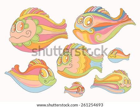 Set of cartoon, cheerful brightly colored fish - stock vector