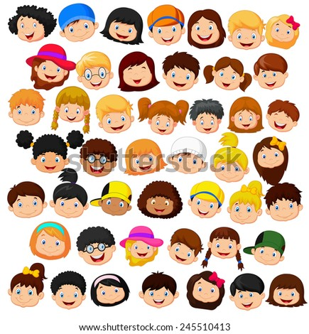 Set of cartoon children head - stock vector