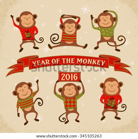 Set of 6 Cartoon Chinese Zodiac Monkeys - 2016 New Year Symbol. Vector illustration. - stock vector