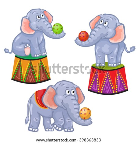 Set of cartoon circus elephant - stock vector