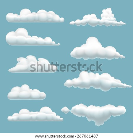 set of cartoon clouds on a blue background - stock vector