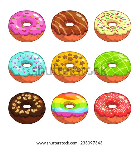 Set of cartoon colorful donuts on the white background - stock vector