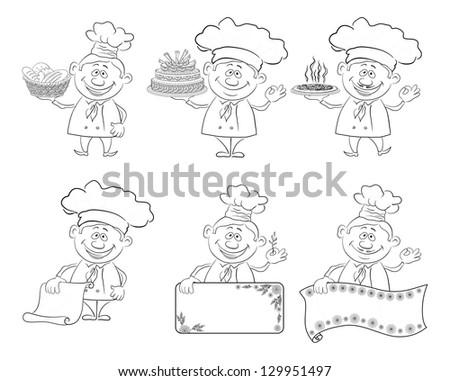 Set of cartoon cooks, chefs: hold basket of bread, cake, pizza, menus, posters, contour. Vector - stock vector