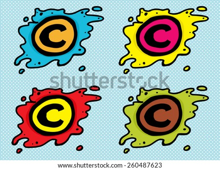 Set of cartoon copyright symbols in blobs over blue - stock vector