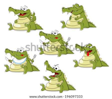 Set of cartoon crocodiles - stock vector