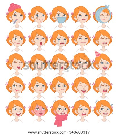Set of cartoon cute girl face emotions Vector Icons. Happy, sad, crying, sleepy, smiling, sick, scary, surprised, excited, laughing. Isolated over white. - stock vector